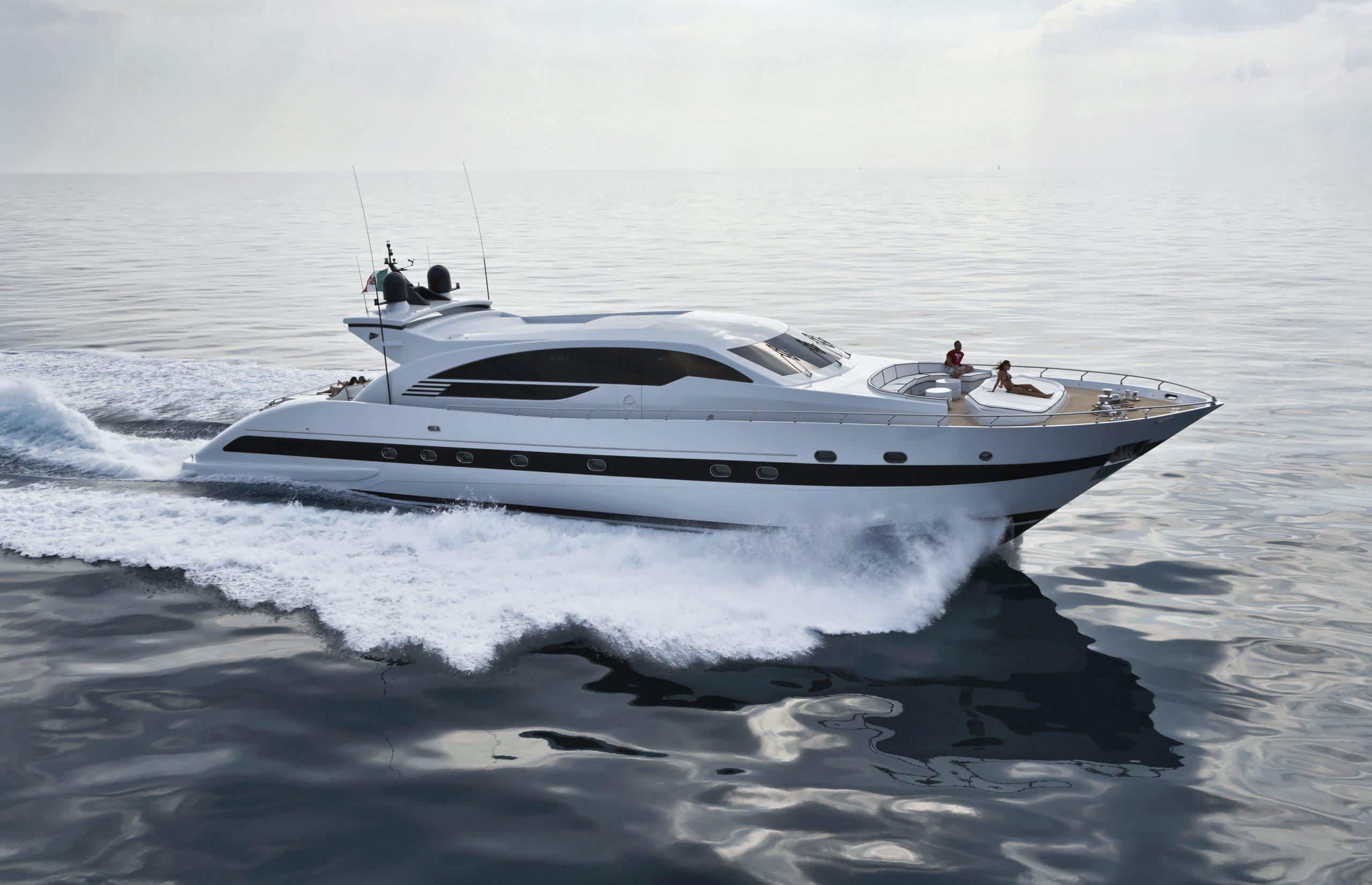 Italy, Tuscany, Viareggio, Tecnomar Velvet 100' luxury yacht, aerial view